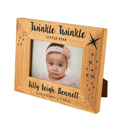 Twinkle Twinkle Little Star Oak Wooden Photo Frame 6x4 | ShaneToddGifts.co.uk