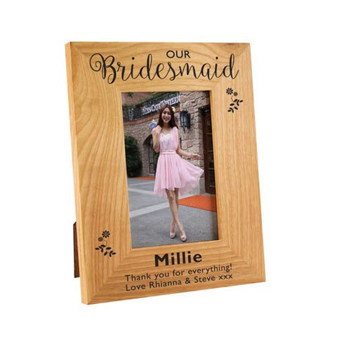 Bridesmaid Floral Wooden Oak Frame 4x6