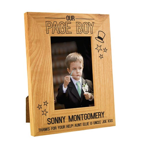Page Boy Stars Wooden Oak Frame 4x6 | ShaneToddGifts.co.uk