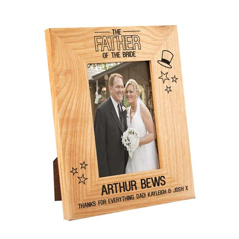 Father of the Bride Stars Wooden Oak Frame 4x6 | ShaneToddGifts.co.uk
