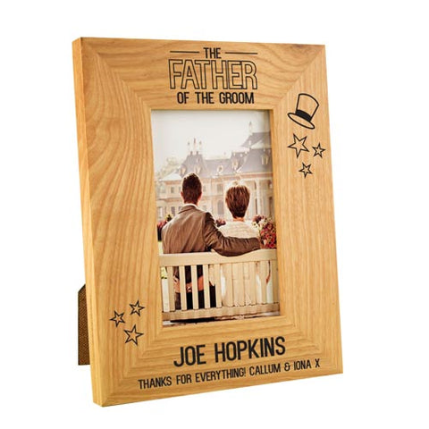 Father of the Groom Stars Wooden Oak Frame 4x6 | ShaneToddGifts.co.uk