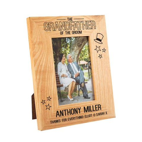 Grandfather of the Groom Stars Wooden Oak Frame 4x6