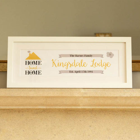 Home Sweet Home Personalised Frame: Gold | ShaneToddGifts.co.uk