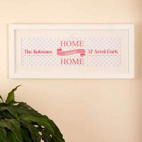 Home Sweet Home Personalised Frame: Pink with Polka Dots | ShaneToddGifts.co.uk