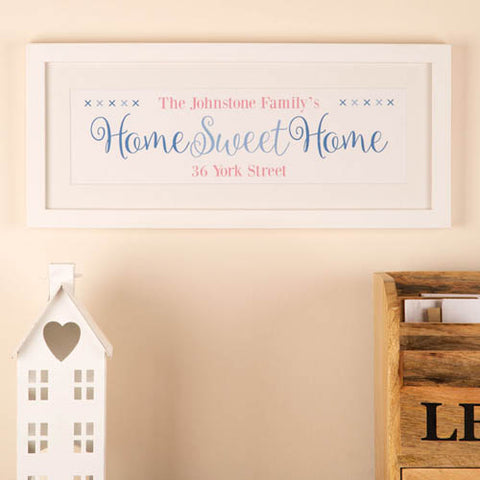 Home Sweet Home Personalised Frame: Blue Print
