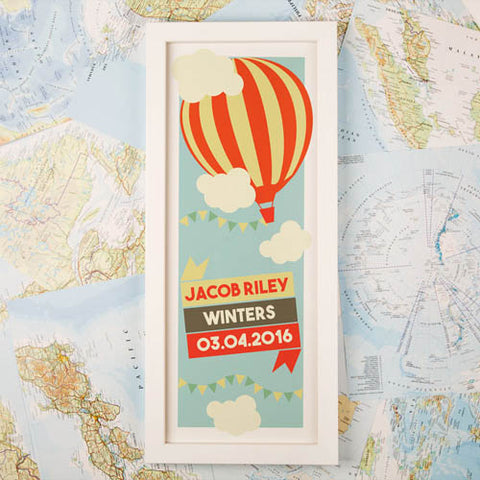 Hot Air Balloon Personalised Framed Print | ShaneToddGifts.co.uk