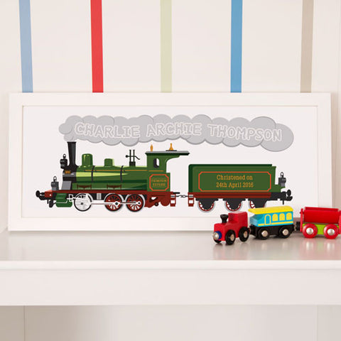 Personalised Steam Train Framed Print | ShaneToddGifts.co.uk