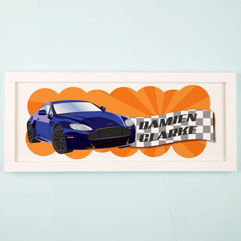 Racing Car Personalised Framed Print | ShaneToddGifts.co.uk