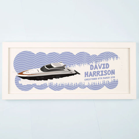 Personalised Speed Boat Framed Print