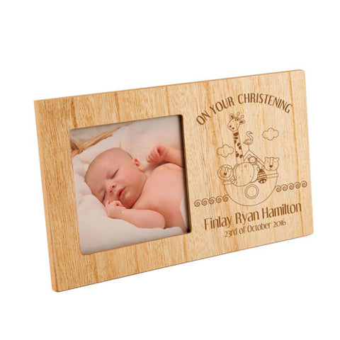 Noah's Ark ChristeningPersonalised Panel Photo Frame | ShaneToddGifts.co.uk