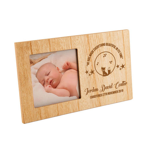Fox Christening Personalised Panel Photo Frame | ShaneToddGifts.co.uk