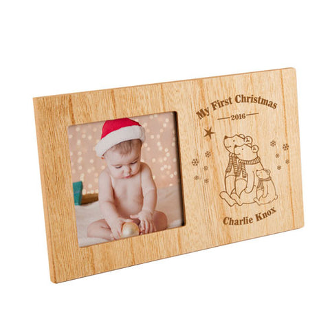 My First Christmas Polar Bear Personalised Panel Photo Frame | ShaneToddGifts.co.uk