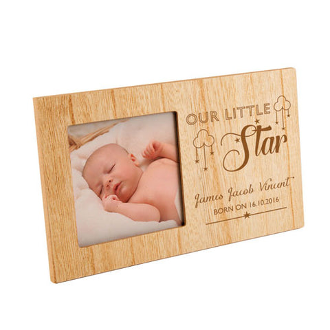 Our Little Star New Born Baby Personalised Panel Photo Frame | ShaneToddGifts.co.uk
