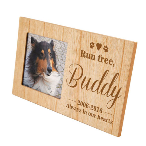 Run Free Pet Memorial Personalised Panel Photo Frame | ShaneToddGifts.co.uk