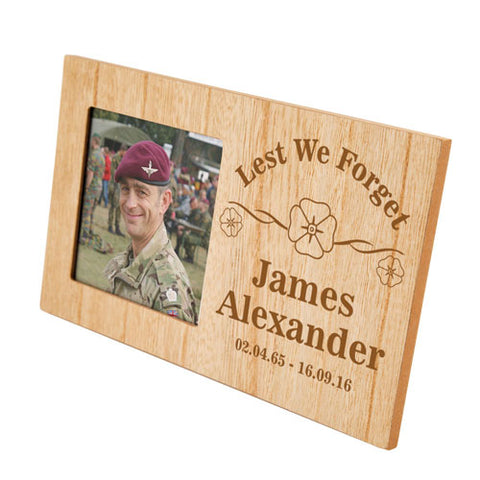 Lest We Forget Memorial Personalised Panel Photo Frame | ShaneToddGifts.co.uk