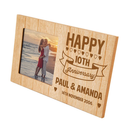 10th Anniversary Personalised Panel Photo Frame | ShaneToddGifts.co.uk