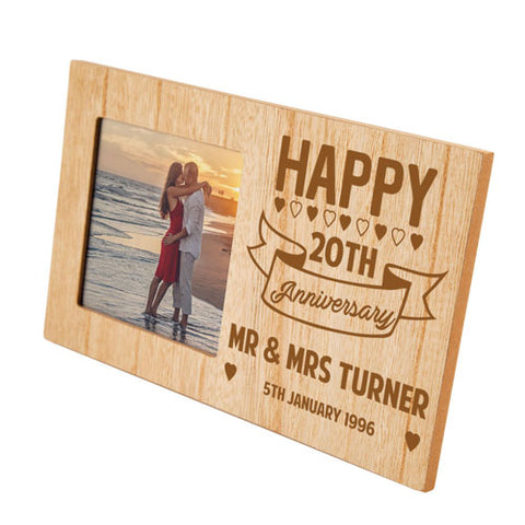 20th Anniversary Personalised Panel Photo Frame | ShaneToddGifts.co.uk