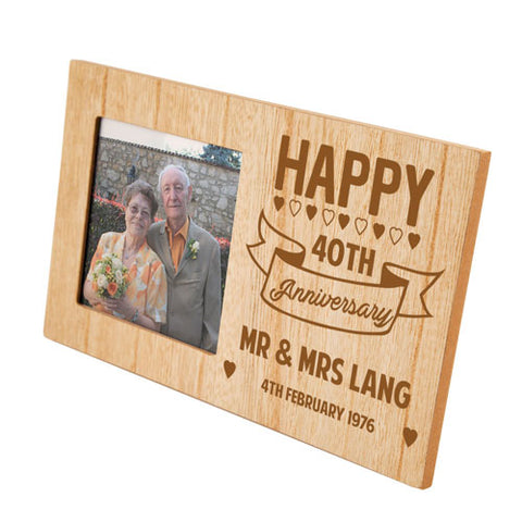 40th Anniversary Personalised Panel Photo Frame | ShaneToddGifts.co.uk