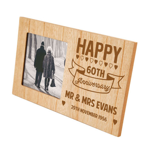 Engraved 60th Anniversary Personalised Panel Photo Frame