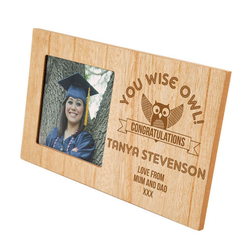Wise Owl Graduation Personalised Panel Photo Frame | ShaneToddGifts.co.uk