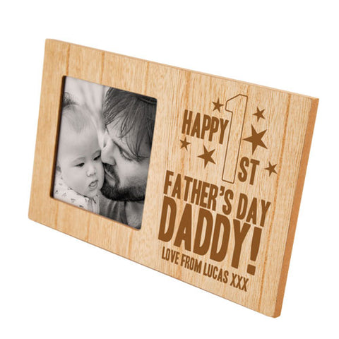 Happy 1st Fathers Day Personalised Panel Photo Frame | ShaneToddGifts.co.uk