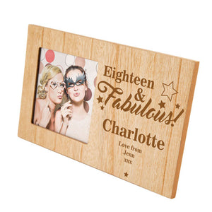 18 and Fabulous Birthday Personalised Panel Photo Frame