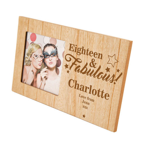 18 and Fabulous Birthday Personalised Panel Photo Frame | ShaneToddGifts.co.uk