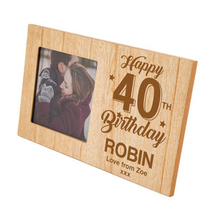 40th Birthday Personalised Panel Photo Frame