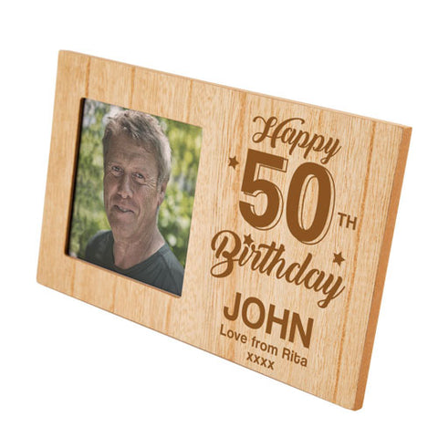 50th Birthday Personalised Panel Photo Frame | ShaneToddGifts.co.uk