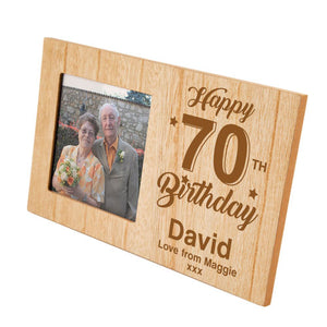 70th Birthday Personalised Panel Photo Frame