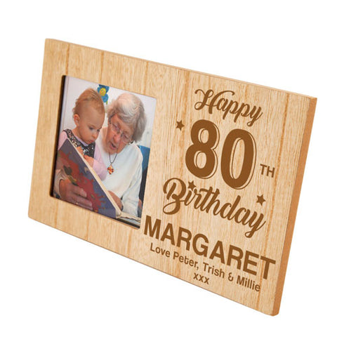 Engraved 80th Birthday Personalised Panel Photo Frame | ShaneToddGifts.co.uk