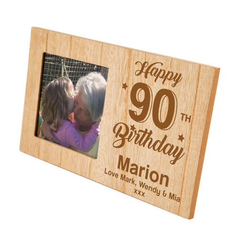90th Birthday Personalised Panel Photo Frame | ShaneToddGifts.co.uk