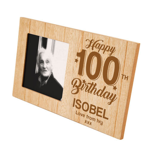 100th Birthday Engraved Personalised Panel Photo Frame