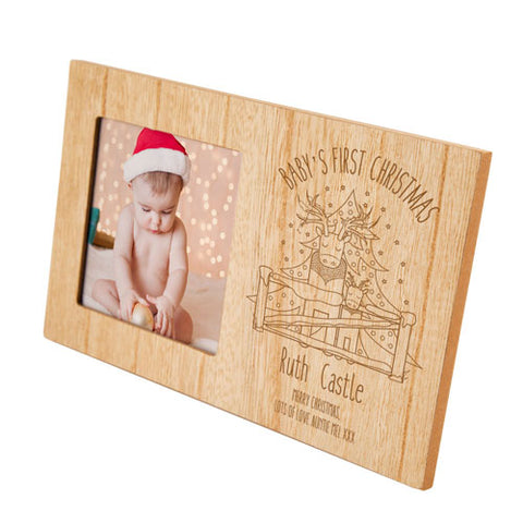 My First Christmas Reindeer Personalised Panel Photo Frame | ShaneToddGifts.co.uk