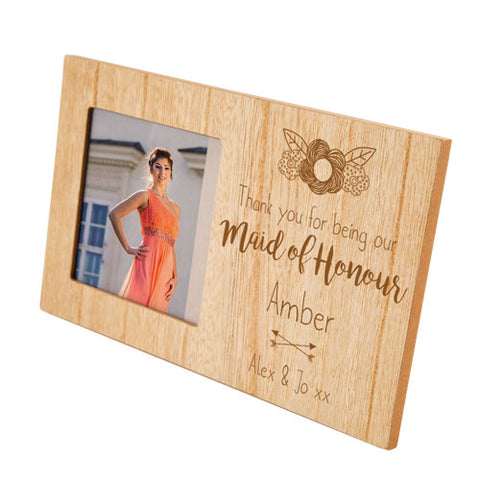 Maid of Honour Personalised Panel Photo Frame | ShaneToddGifts.co.uk