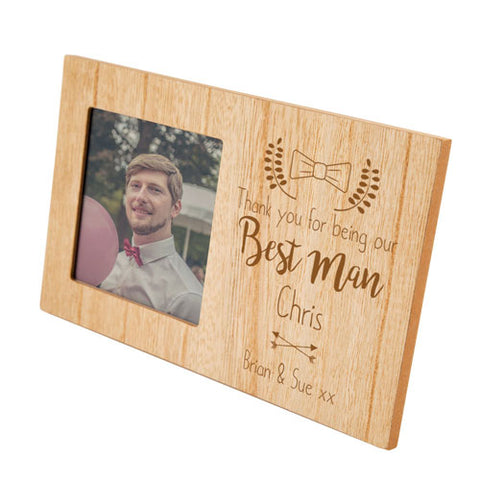 Engraved Best Man Personalised Panel Photo Frame | ShaneToddGifts.co.uk