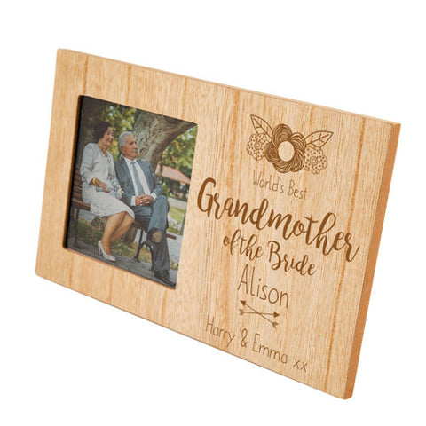 Grandmother of the Bride Personalised Panel Photo Frame | ShaneToddGifts.co.uk