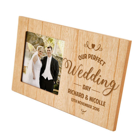 Our Perfect Wedding Day Personalised Panel Photo Frame | ShaneToddGifts.co.uk