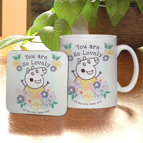 Personalised Peppa Pig™ Mummy Pig Floral Mug & Coaster