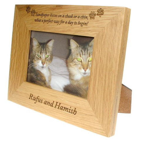 Engraved 6x4 Wooden Photo Frame for Cats
