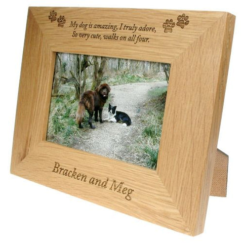 Engraved 6x4 Wooden Photo Frame for Dogs