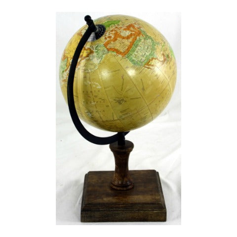 8 Inch Decorative Globe On Wooden Stand