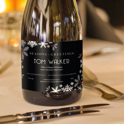 Personalised Christmas Snowflakes Prosecco