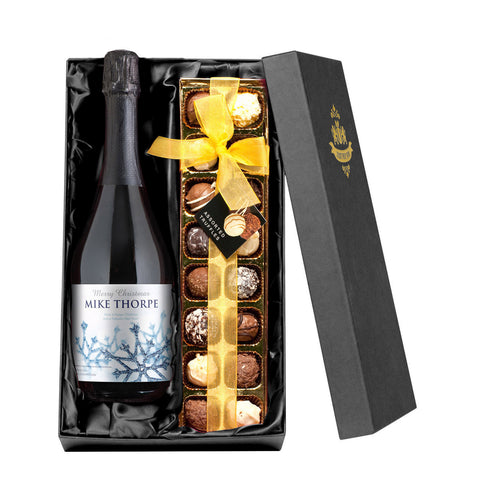 Personalised Winter Snow Prosecco & Chocolates