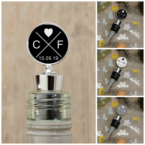 Bottle Stopper - Personalise with Initials & Date Available in White, Black & Grey