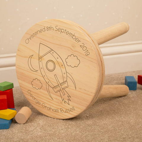 Personalised Space Rocket Kids Wooden Stool.