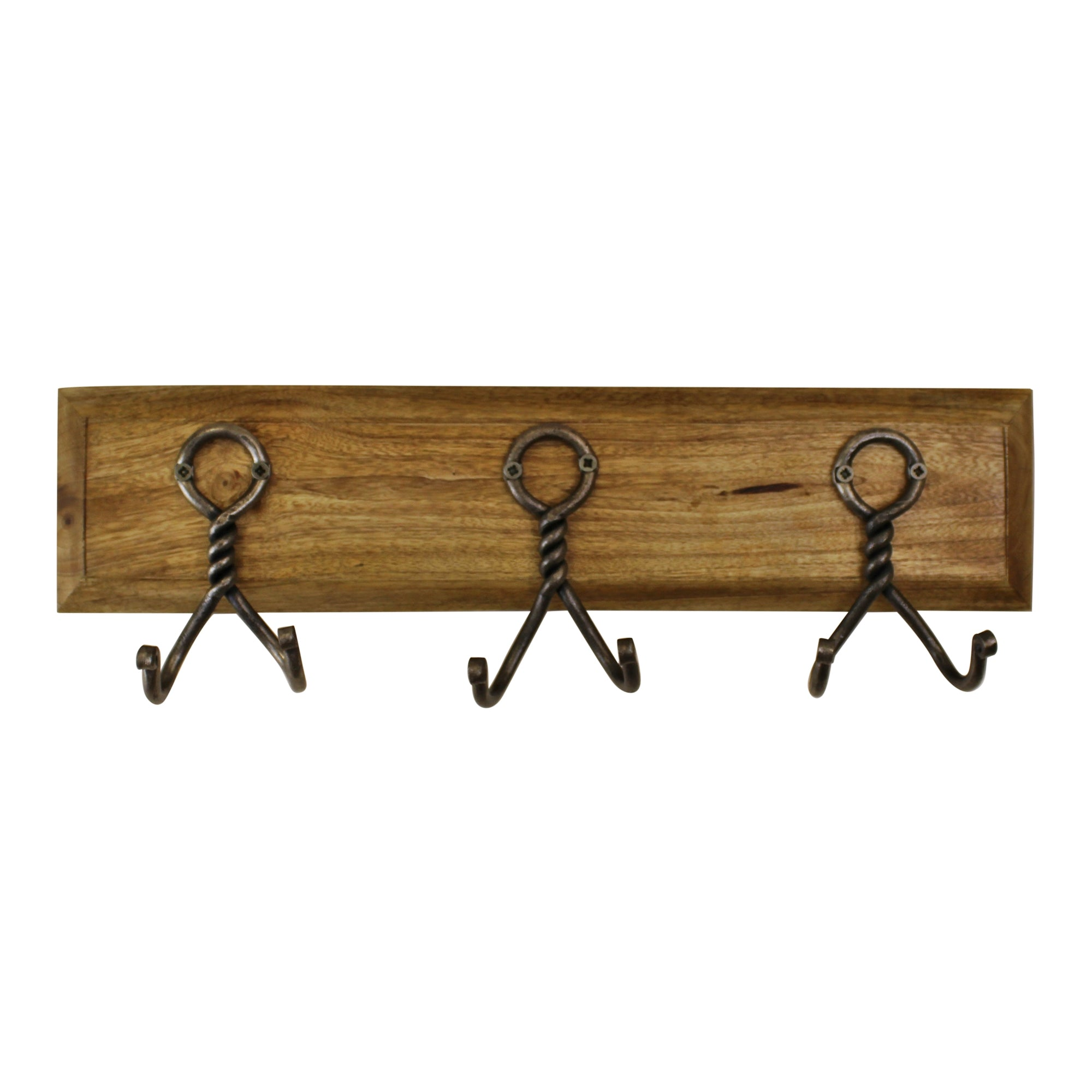 3 Piece Double Metal Hooks On Wooden Base, Clasps & Hooks by Low Cost Gifts
