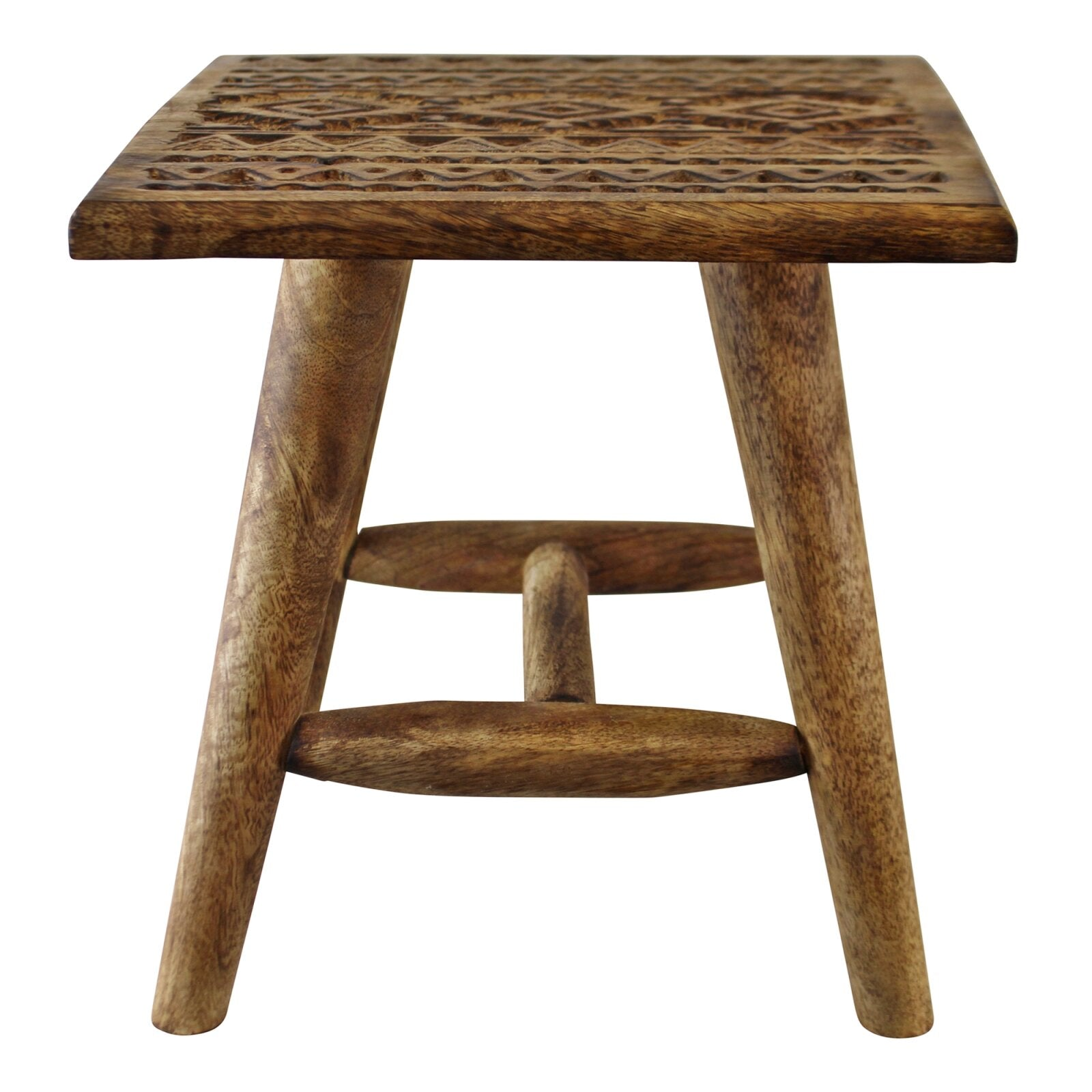 Kasbah Design Small, Hand Carved Wooden Stool, Furniture by Low Cost Gifts