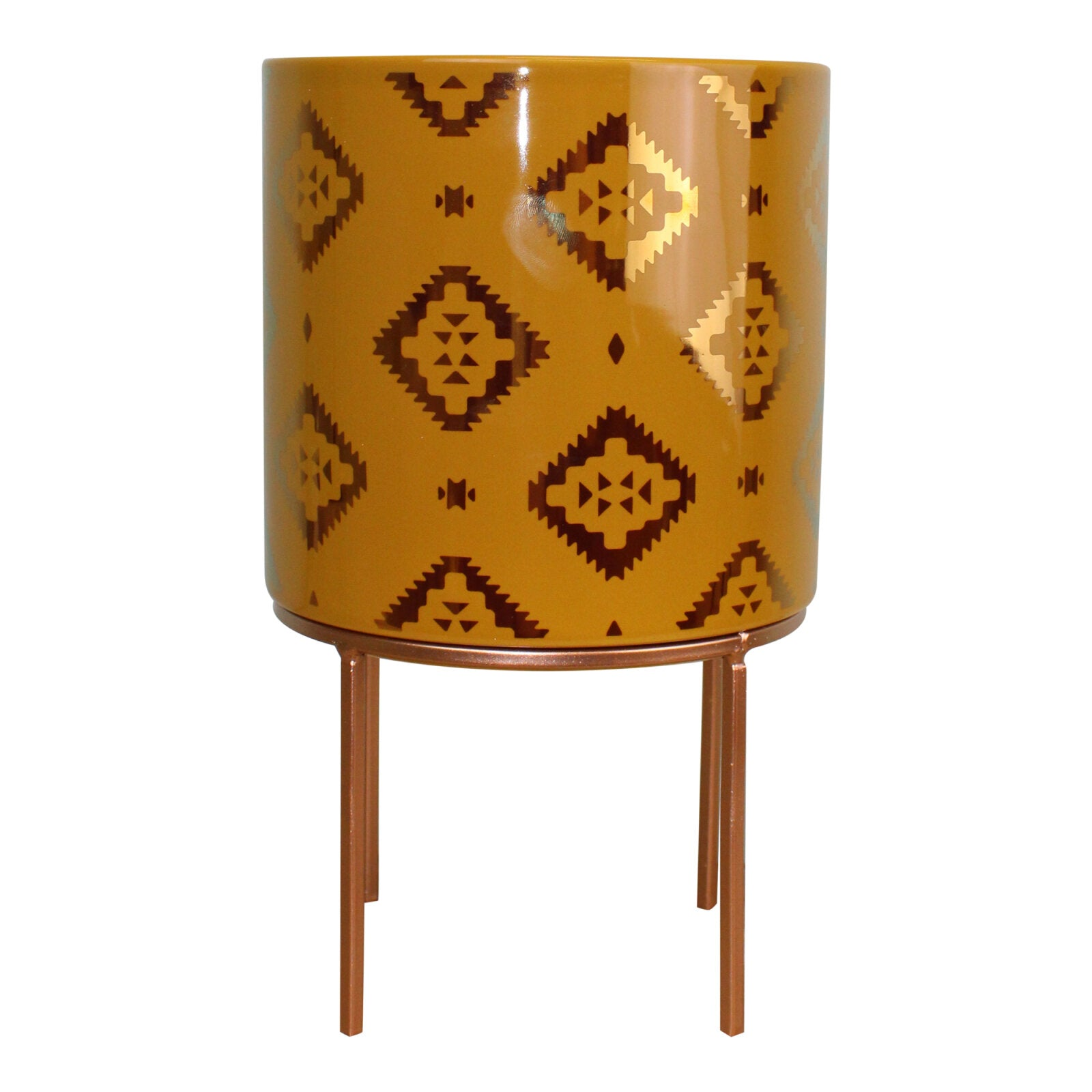 Kasbah Design Ceramic Planter, Yellow, Lawn & Garden by Low Cost Gifts