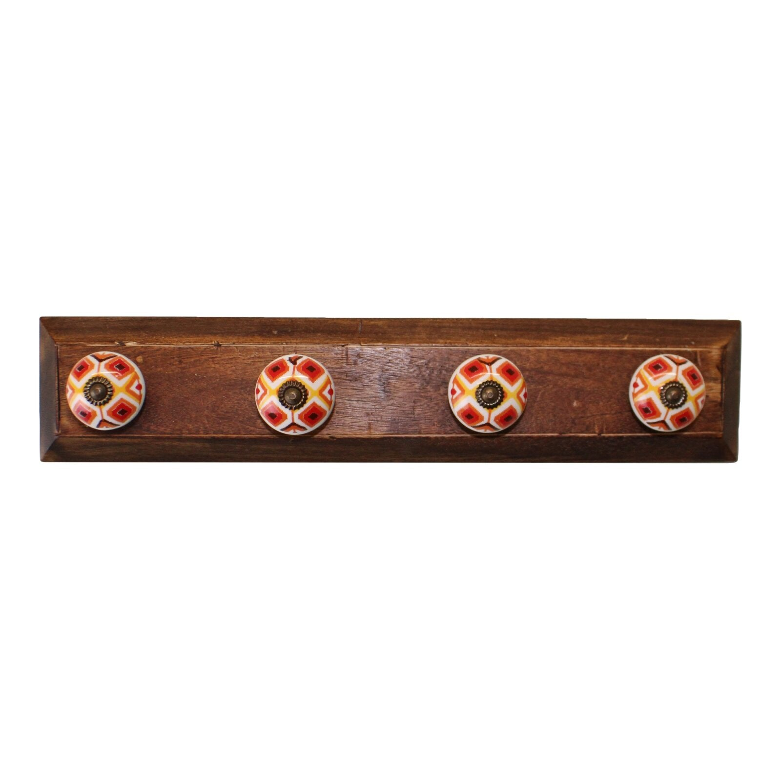 Set of 4 Kasbah Design Coat Hooks On Wooden Base, Clasps & Hooks by Low Cost Gifts